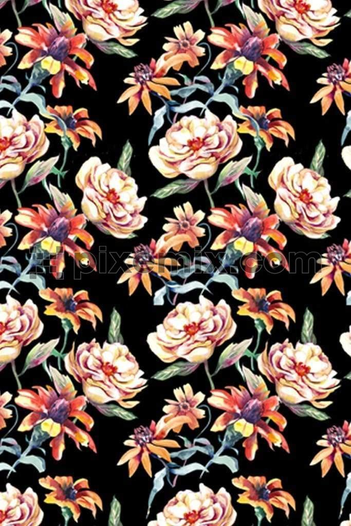 Big digital florals product graphic with seamless repeat, pattern