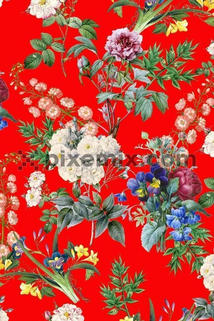 Kimono inspired digital florals product graphic with seamless repeat pattern<span