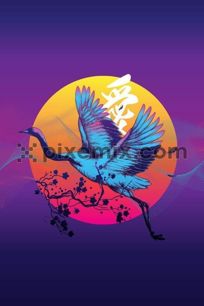 Trendy retro oriental inspired crane product graphic