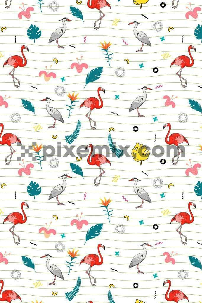 Trendy cute tropical product graphic with seamless repeat pattern