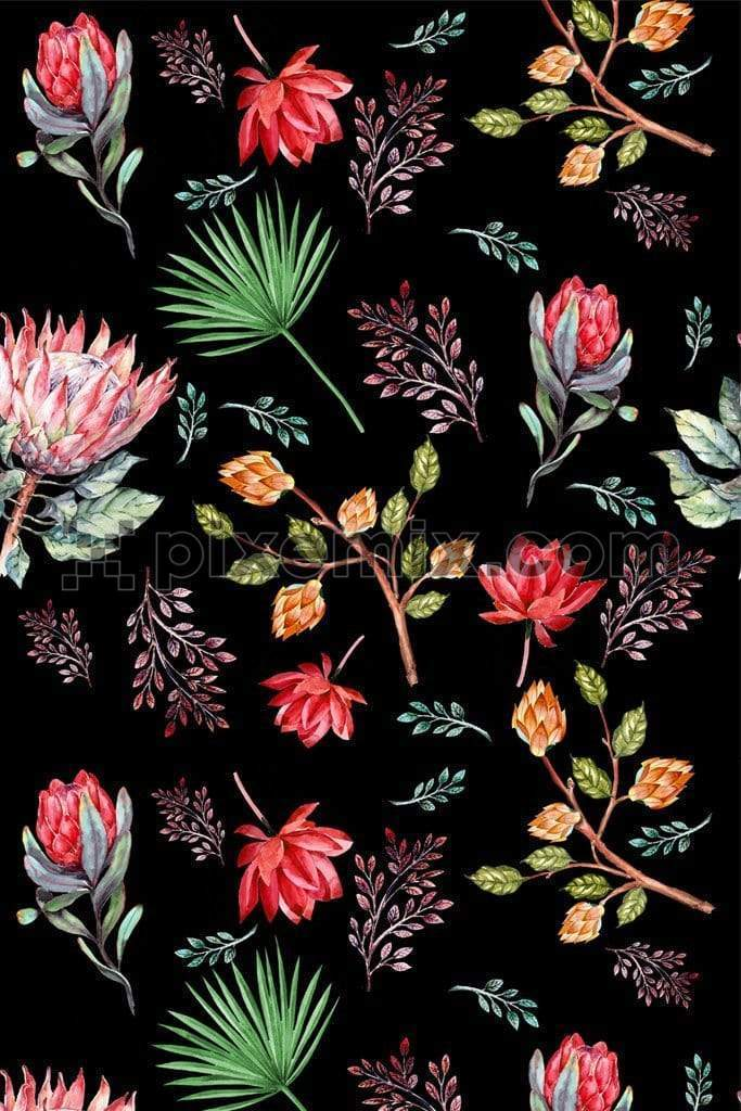 Botanical floral & leaves product graphic with seamless repeat pattern