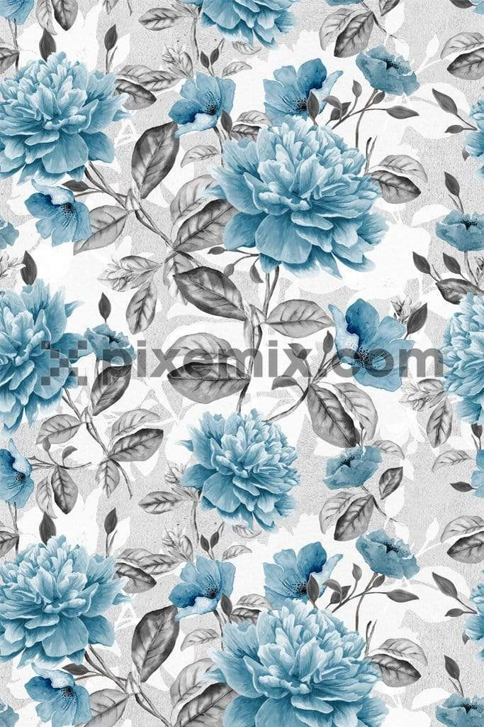 Blue roses product graphic with seamless repeat pattern