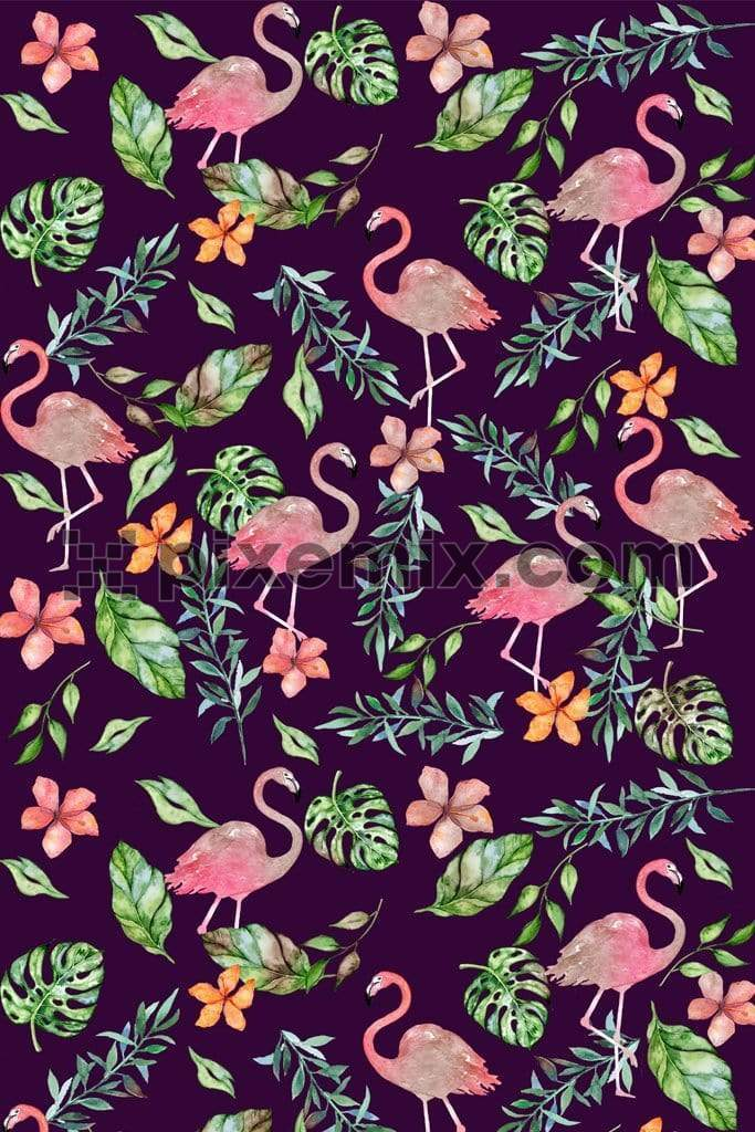 Tropical flamingo product graphic with seamless repeat pattern