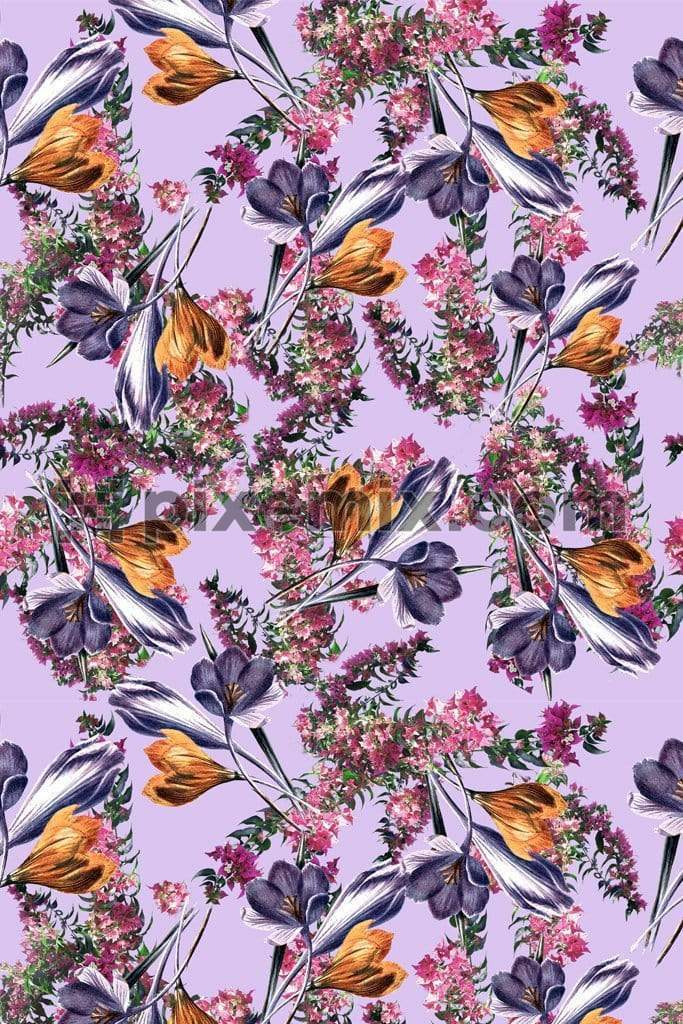 Botanical floral mix product graphic with seamless repeat pattern