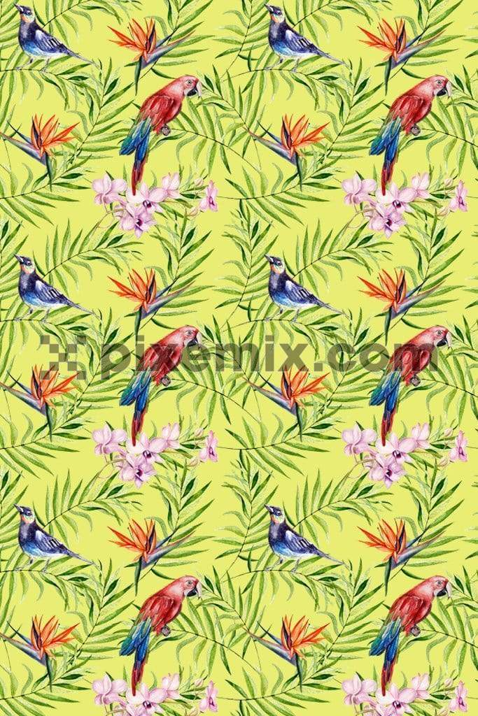 Birds in tropical paradise product graphic with seamless repeat pattern