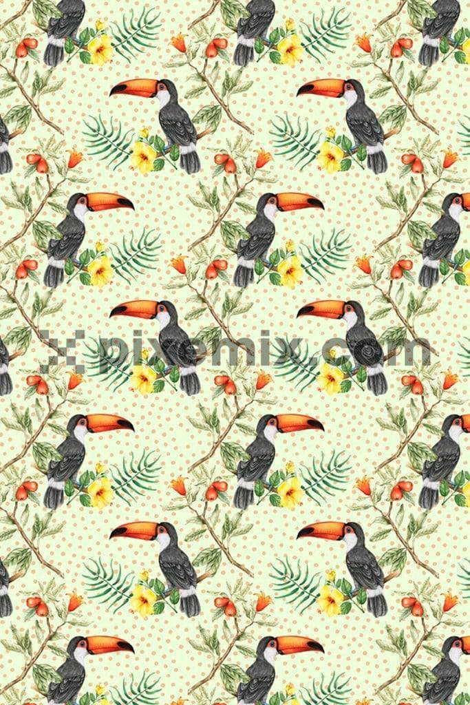Tropical toucan with tonal polka product graphic with seamless repeat pattern