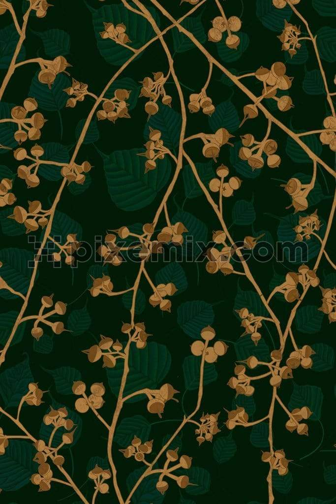 Monochrome banyan leaves & seeds product graphic with seamless repeat pattern
