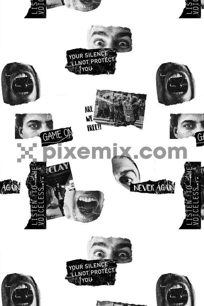 Monochrome face collage product graphic with seamless repeat pattern