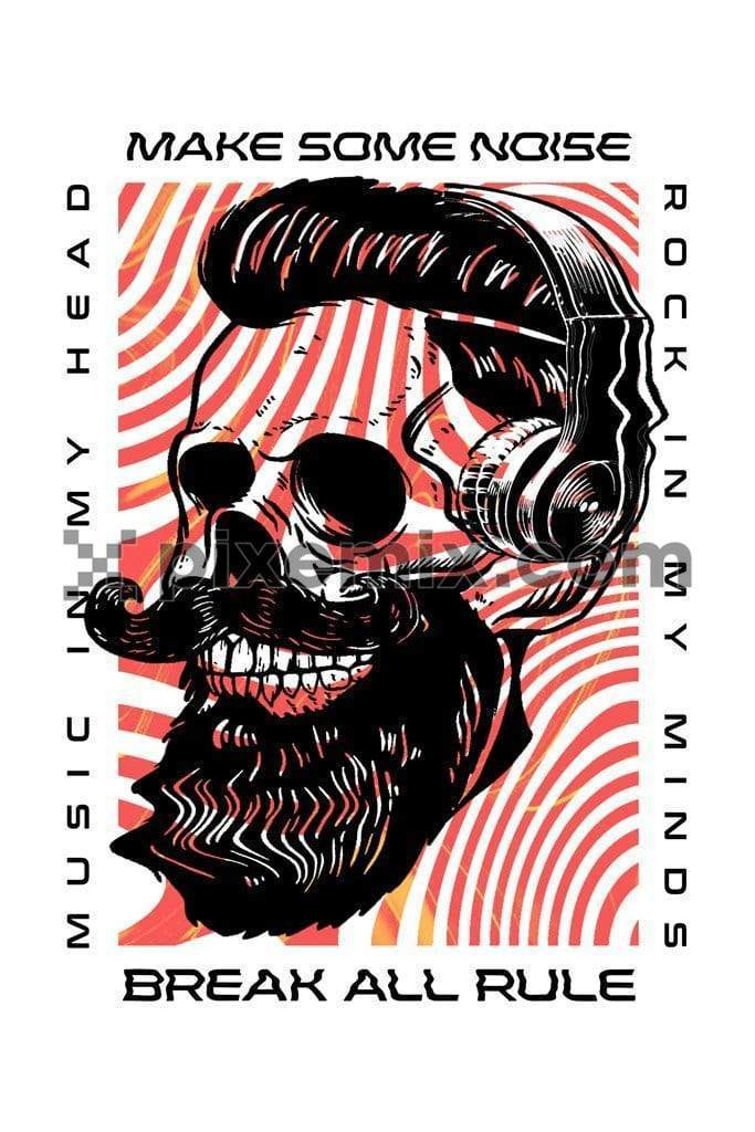 Music inspired trendy liquify skull product graphic with liquid stripes