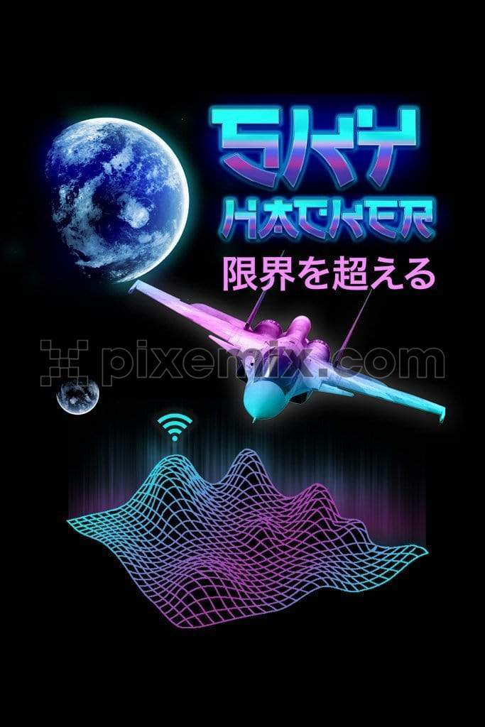 Techno inspired trendy fighter jet product graphic with retro oriental style typography
