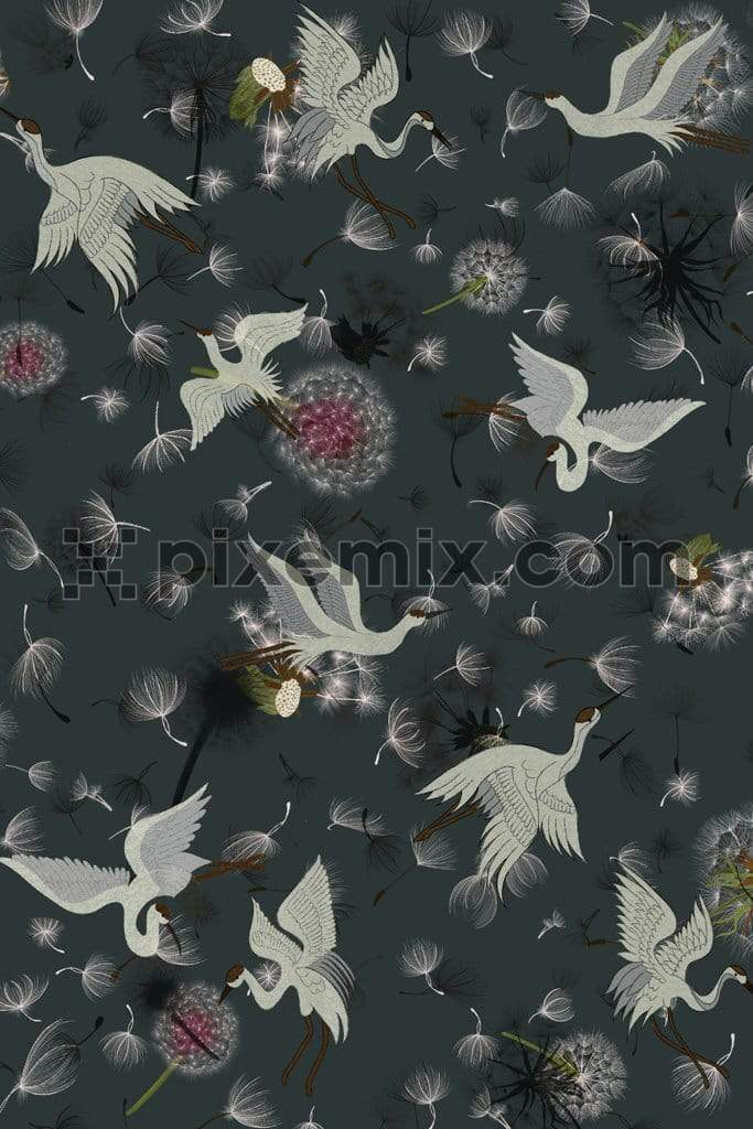 Cranes flying around fluffy dandelions product graphic with seamless repeat pattern