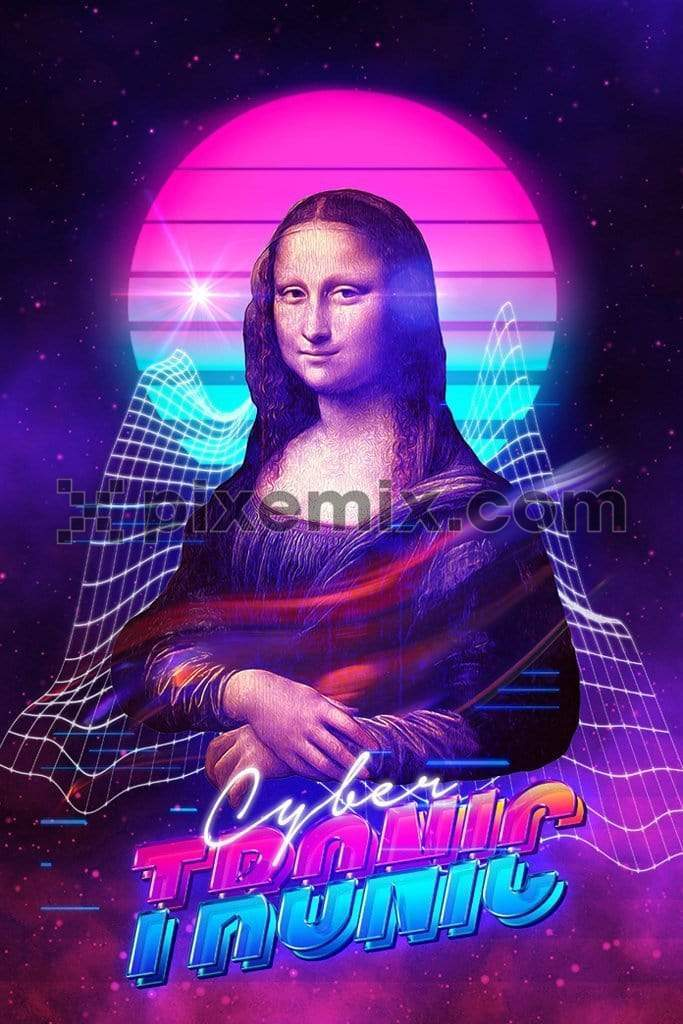 Retro Techno inspired mona lisa trendy product graphic