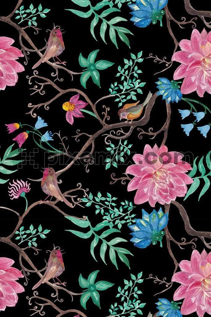 Watercolor birds and florals product graphic with semaless repeat pattern