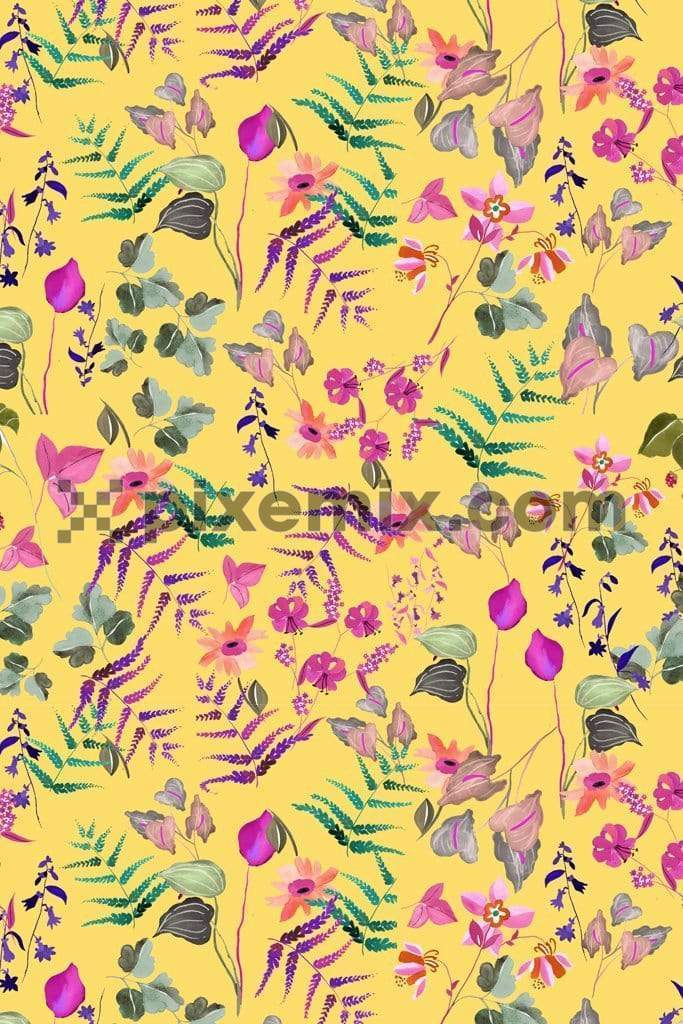 Botanical bright florals product graphic with seamless repeat pattern