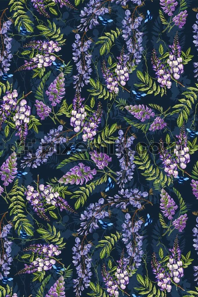 Wisteria floral product graphic with seamless repeat pattern