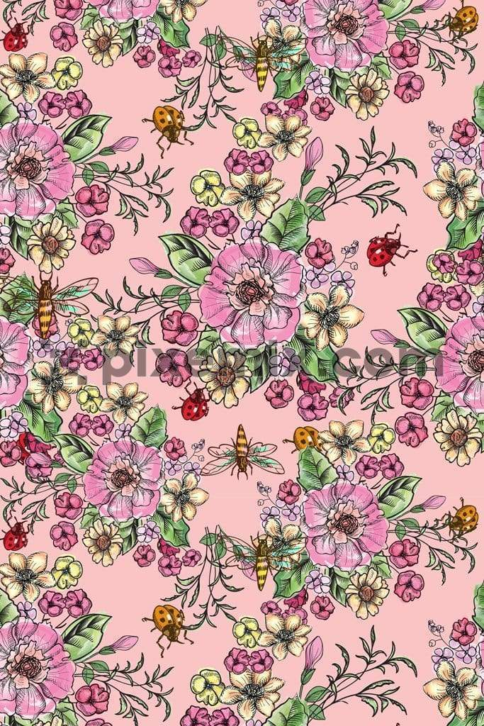 Floral & insect art product graphic with seamless repeat pattern