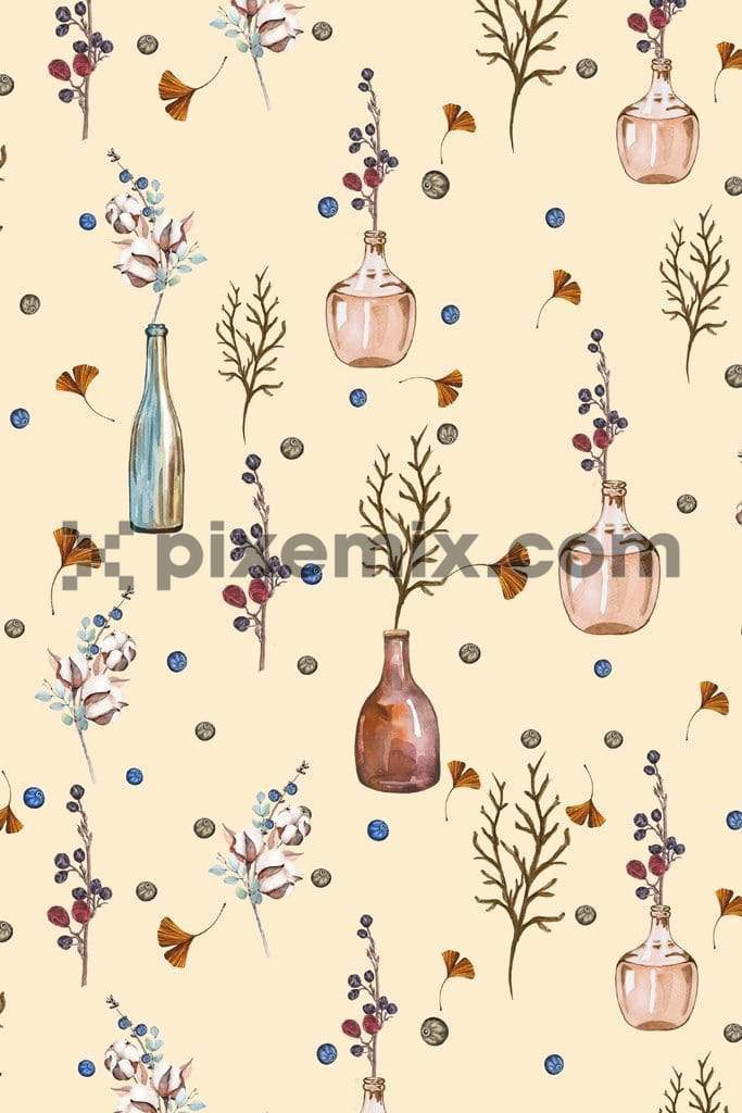 Water color glass vase product graphic with seamless repeat pattern