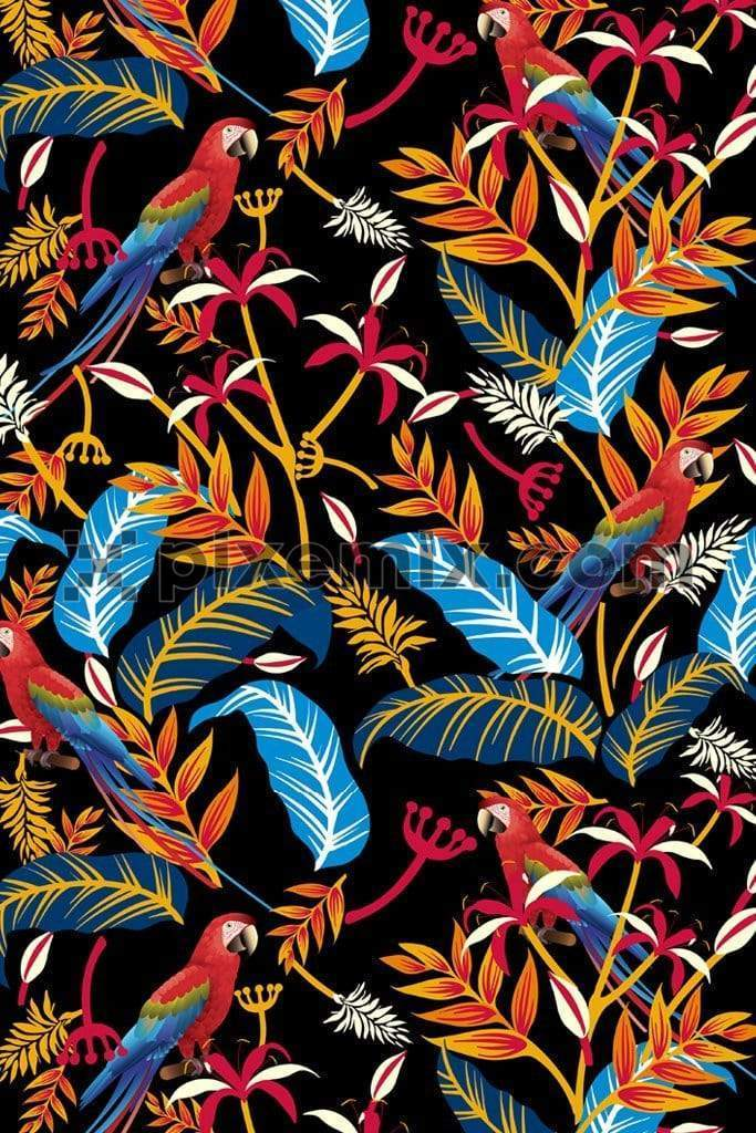 Macaw bird around colorful tropical leaves & florals product graphic with seamless repeat pattern