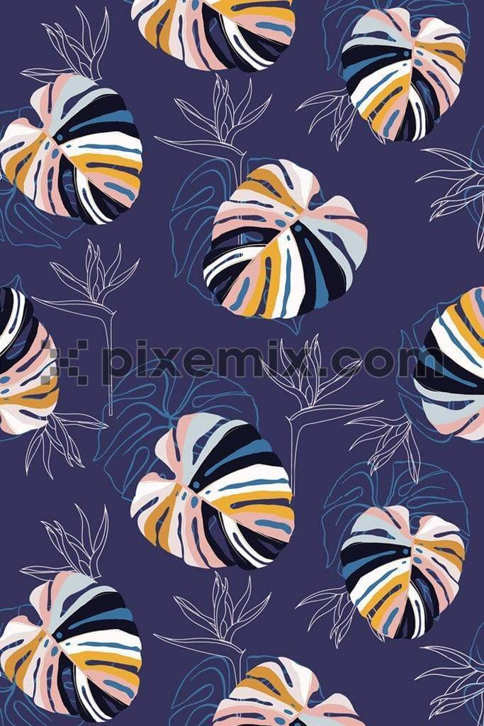 Contemporary bright and colorful tropical leaves product graphic with seamless repeat pattern