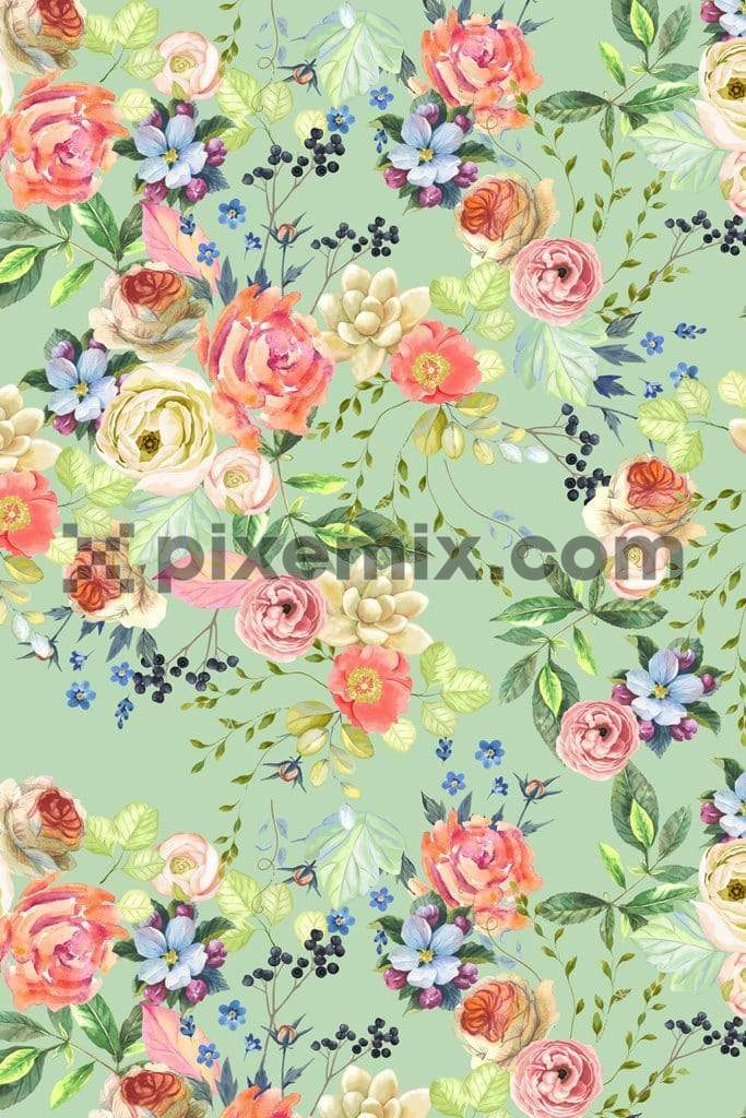 Summer blooming bunch product graphic with seamless repeat pattern