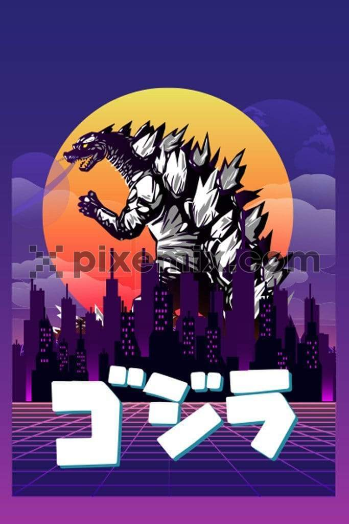 Synthwave inspired japanese godzilla product graphic