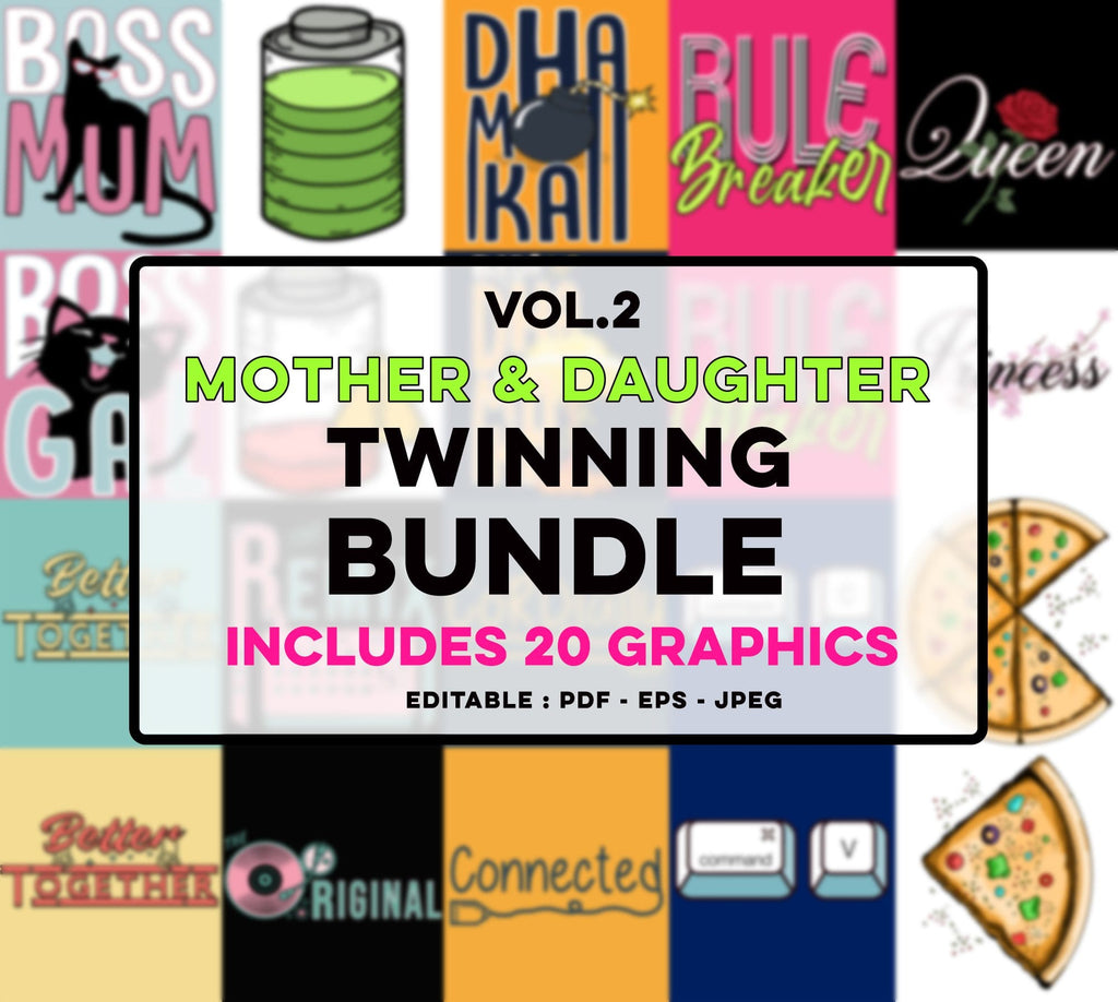 An assorted bundle pack of 20 mother & daughter twinning placement product graphics