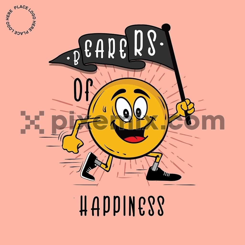 Flag bearer happy emoji social media static post