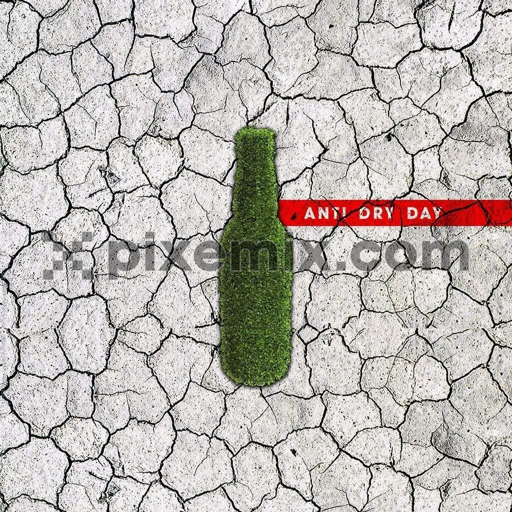 Barren land with green bottle anti dry day social media static post