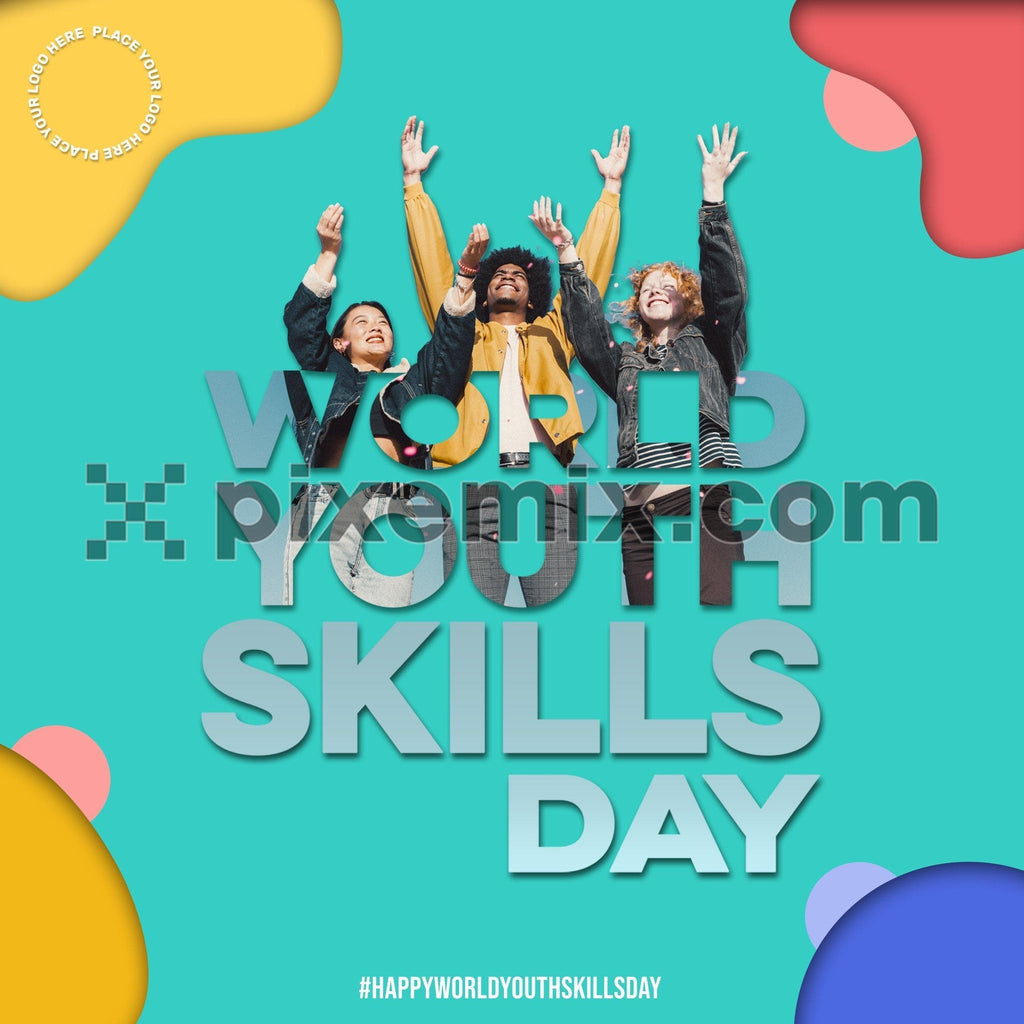 World youth skill day double exposure color block social media static post