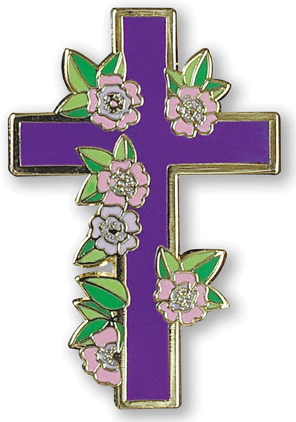 Floral Cross Enamel Pin