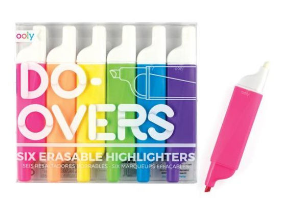 Do-Overs Erasable Highlighters -Set of 6