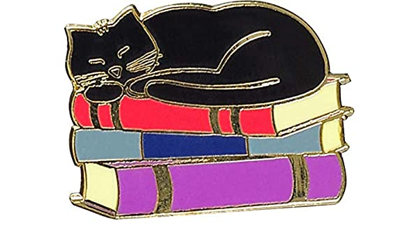 Cat with Books Enamel Pin