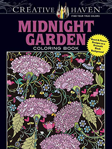 Midnight Garden Coloring Book Heart and Flower Designs on a Dramatic Black Background