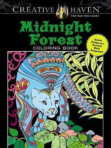 Midnight Forest Coloring Book Animal Designs on a Dramatic Black Background