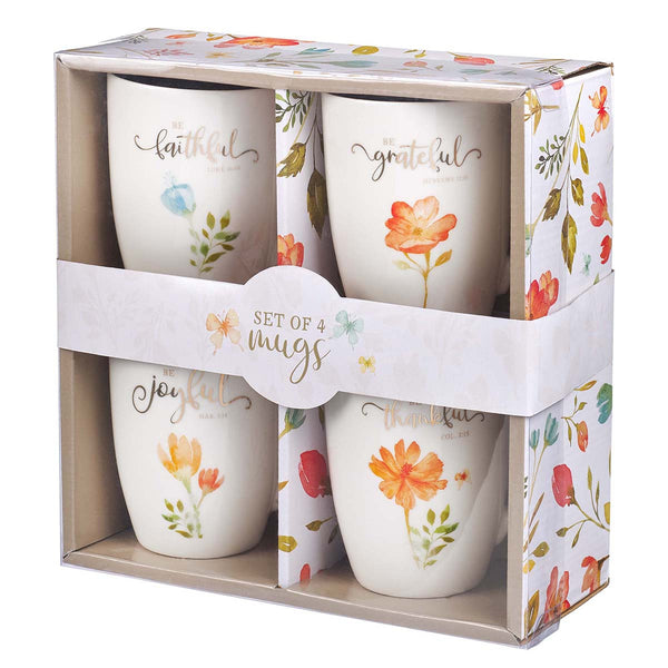 Grateful Flora Mug Set Stoneware 4 Pieces