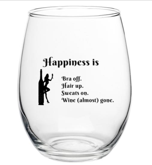 Happiness is... 15 oz Wine Glass