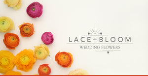 Colourful flowers scattered on a white background around the Lace and Bloom logo