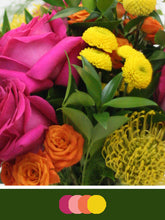Load image into Gallery viewer, Close up image of DIY Bridal Bouquet with Bright and Cheerful Pink, Orange and Yellow tones. Flowers include billy balls, pincushion protea, button poms, ranunculus and roses