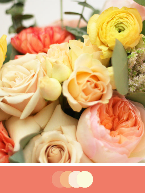 Close up of DIY Bridal Bouquet with Coral and Cream tones. Flowers include astilbe, ranunculus, roses, carnations
