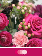 Close up image of DIY Bridal Bouquet with Hot Pink and French rose tones. Flowers include ranunculus, scabiosa, hypericum berries, carnations and roses