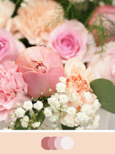 Load image into Gallery viewer, Close up of DIY Bridal Bouquet with Dusty Pink, Peach and Blush tones. Flowers include roses, carnations and baby's breath.