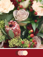Close up image of DIY Bridal Bouquet with Burgundy and Rose tones. Flowers include protea, scabiosa, roses, hypericum berries and carnations