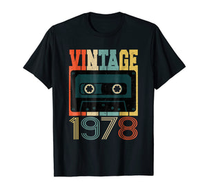 Retro 40th Birthday Tshirt, Vintage 1978, Cassette Tape