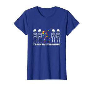 It's Ok To Be A Little Different Autism Skeleton Dab T-shirt