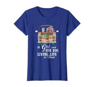 A Girl And Her Dog Living Life In Peace T-Shirt Peace Day