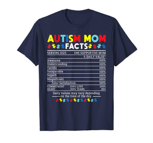 Autism Mom Facts One Supportive Mom Awareness Gift T-Shirt