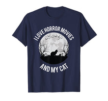 Load image into Gallery viewer, I Love Horror Movies And My Cat T-Shirt