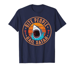 Retro Vintage Bite People Hail Satan Angry Shark Tshirt Gift