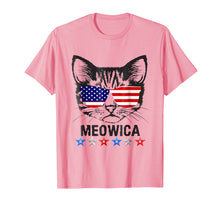 Load image into Gallery viewer, 4th of July T Shirt American Flag Cat MEOWICA Shirt