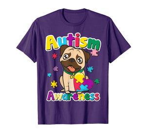 Autism Awareness T-Shirt Cute Pug Dog Puzzle Pieces Gift